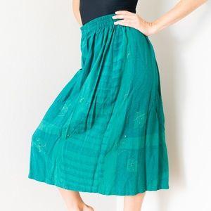 Vintage Green Print Midi Knee Length Skirt Small S